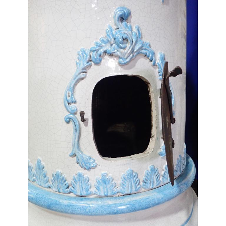 French Louis XVI Style Blue and White Glazed Ceramic Kachelofen Stove  For Sale 5