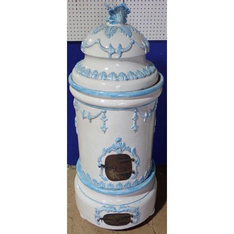 French Louis XVI Style Glazed Ceramic Kachelofen Stove . French Louis XVI Style Kachelofen Ceramic Stove Late 19th Century Antique. Round Robins Egg Blue and White Louis XVI Style Kachelofen Ceramic Stove. 3 stacking pieces, bun feet.