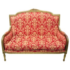French Louis XVI Style Gold Red Upholstered Settee Sofa Loveseat Decorator Chair