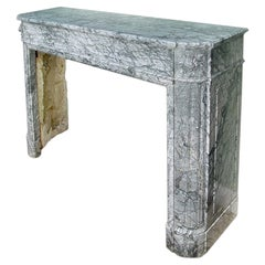 French Louis XVI Style 'Gris St. Anne' Marble Mantel