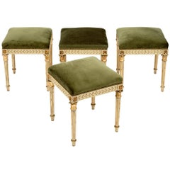 French Louis XVI Style Hand Carved Stools