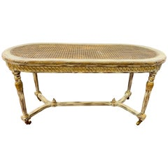 French Louis XVI Style Hand Painted Coffee Table with Wheels Attributed Henredon