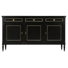 French Louis XVI Style Jansen Inspired Ebonized Buffet in Restored Condition