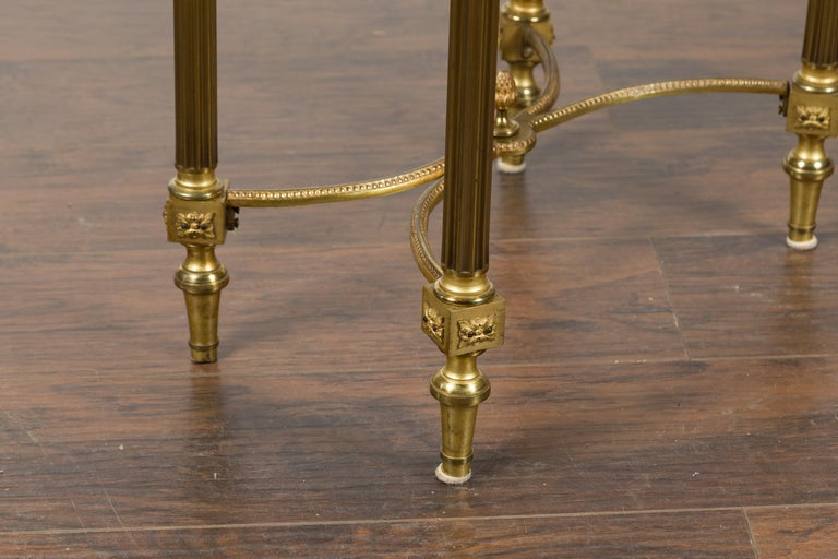 French Louis XVI Style Kidney Gilt Bronze Accent Table with Palmiform Columns For Sale 7