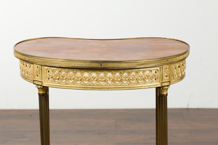 French Louis XVI Style Kidney Gilt Bronze Accent Table with Palmiform Columns For Sale 11