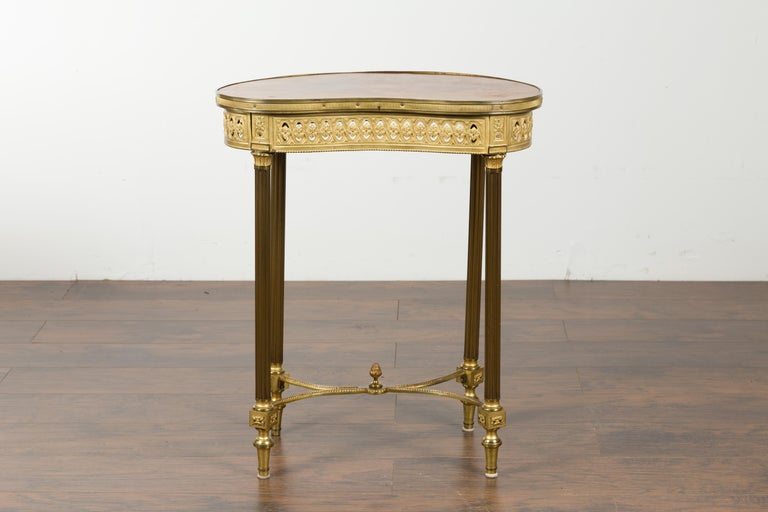 19th Century French Louis XVI Style Kidney Gilt Bronze Accent Table with Palmiform Columns For Sale