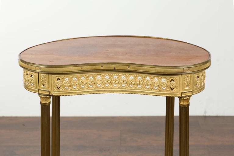 French Louis XVI Style Kidney Gilt Bronze Accent Table with Palmiform Columns For Sale 1
