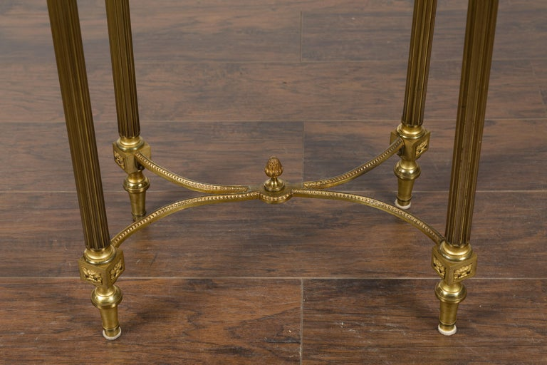 French Louis XVI Style Kidney Gilt Bronze Accent Table with Palmiform Columns For Sale 4