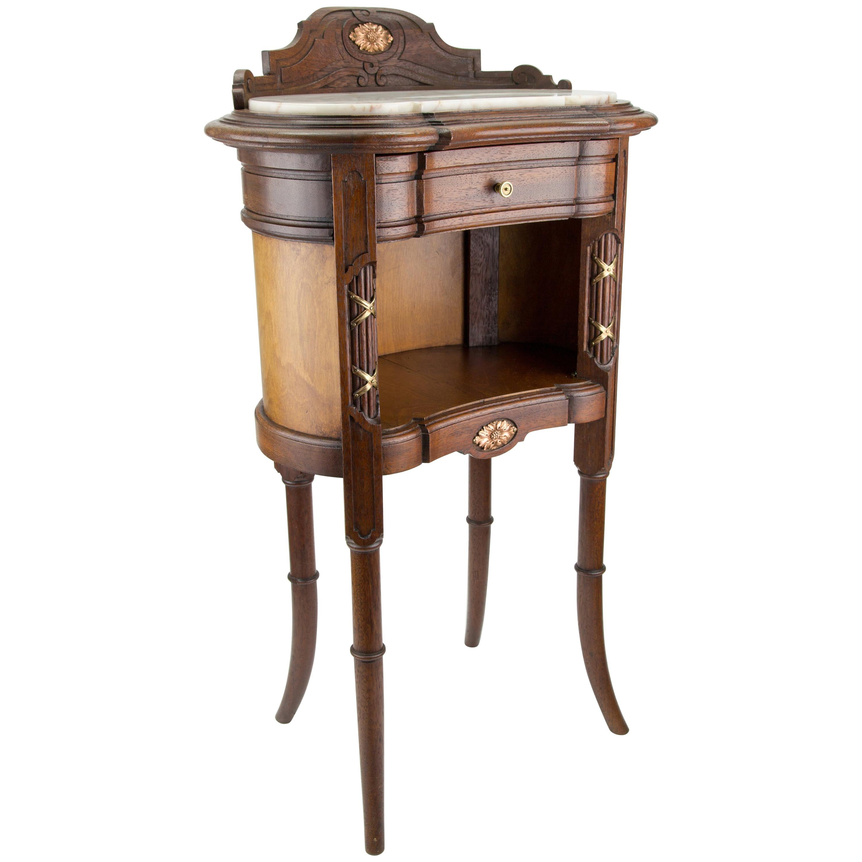 French Louis XVI Style Kidney Shaped Nightstand with Marble Top and Brass Mounts