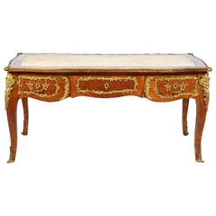 French Louis XVI Style Kingwood 19th Century Bureau Plat Desk with Bronze Mounts