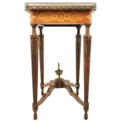 French Louis XVI Style Kingwood and Marquetry Inlaid Side Table