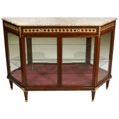 French Louis XVI Style Mahogany and Gilt-Bronze Mounted Sever Exhibition Vitrine
