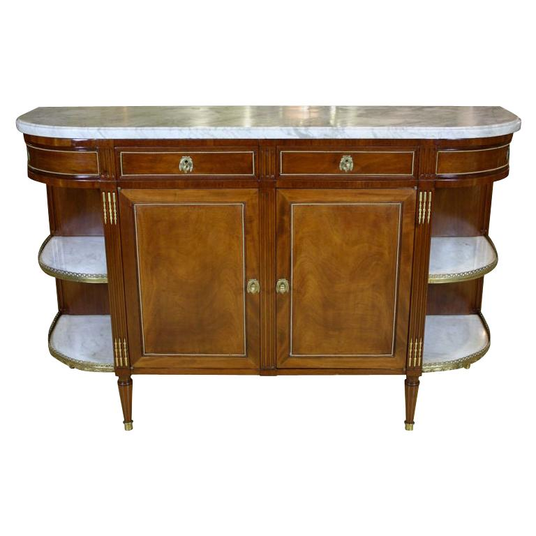 French Louis XVI Style Mahogany Buffet with Grey Marble Top For Sale