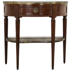 French Louis XVI Style Mahogany Demilune Console Table, Marble Top, circa 1900