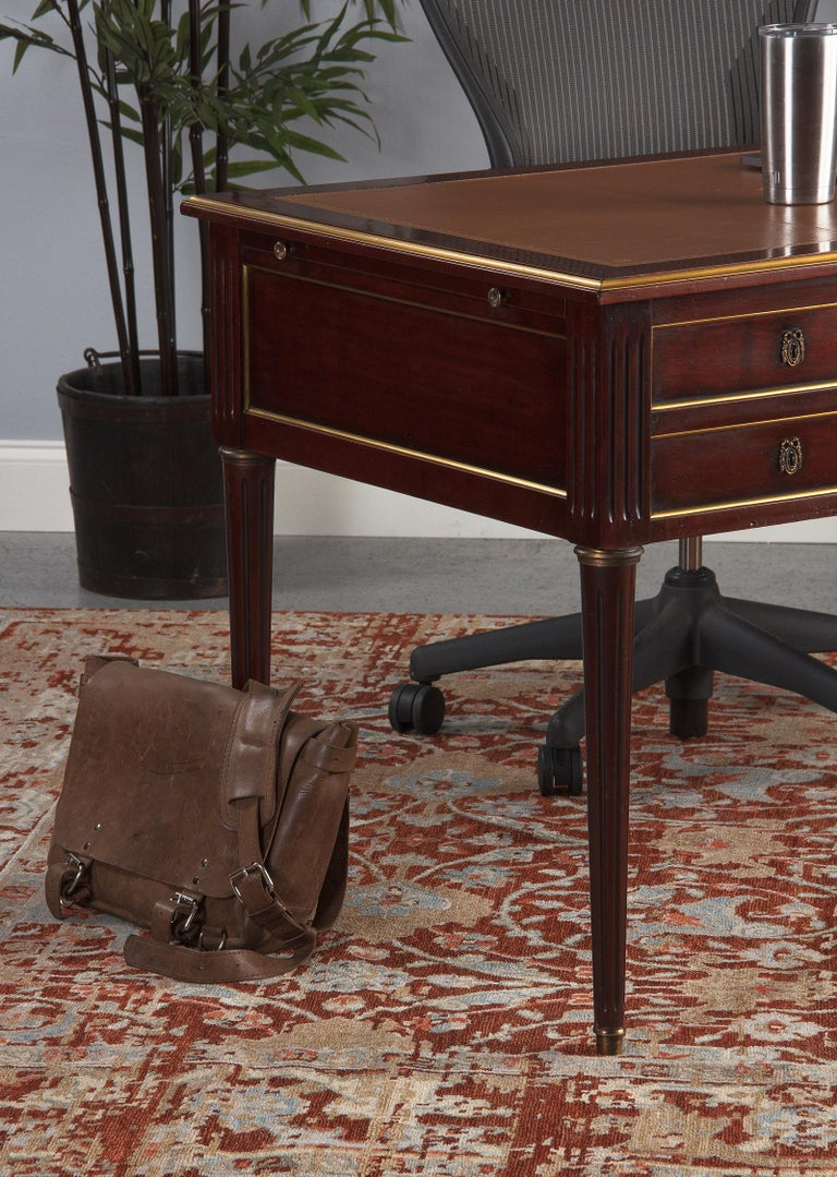 French Louis XVI Style Mahogany Desk with Leather Top, 1950s For Sale 6