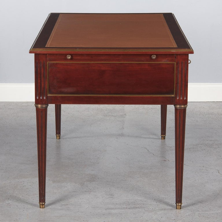 French Louis XVI Style Mahogany Desk with Leather Top, 1950s For Sale 12