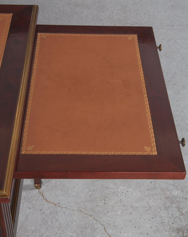 French Louis XVI Style Mahogany Desk with Leather Top, 1950s For Sale 2