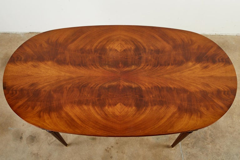 Brass French Louis XVI Style Mahogany Dining Table with Leaves For Sale
