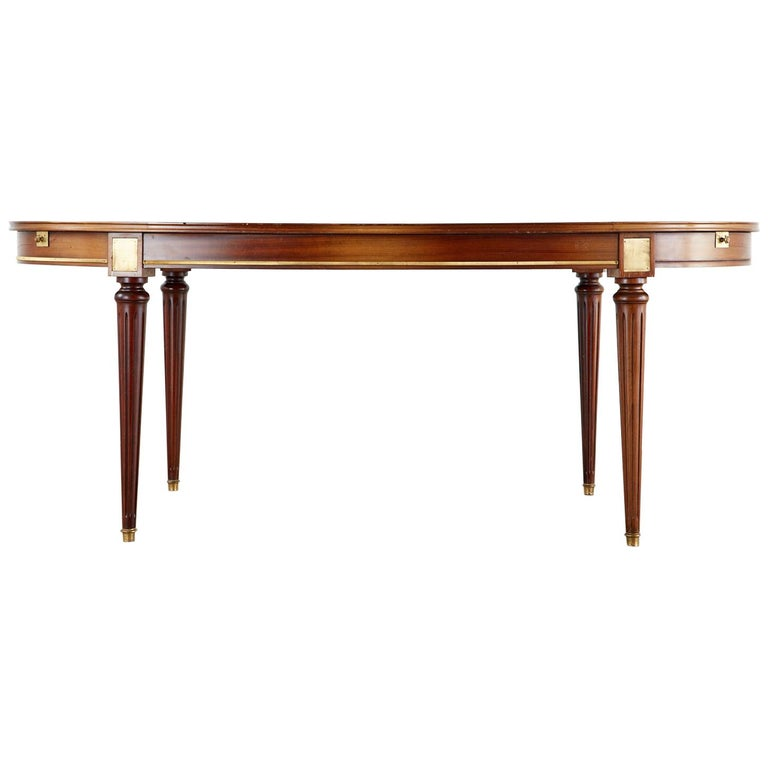 French Louis XVI Style Mahogany Dining Table with Leaves For Sale