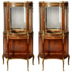 French Louis XVI Style Mahogany Display Cabinets, 19th Century Paul Somani, Pair