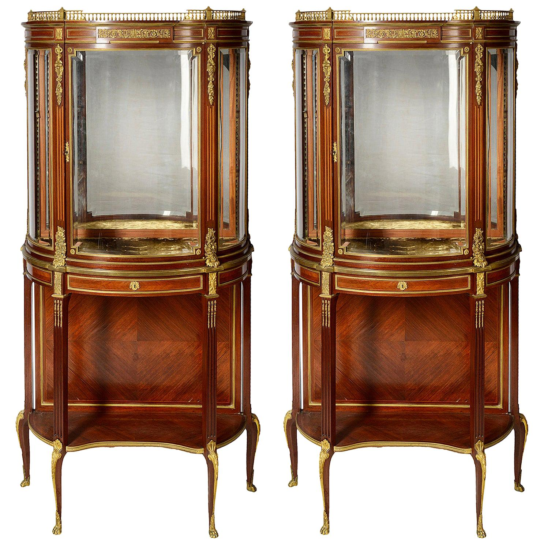 French Louis XVI Style Mahogany Display Cabinets, 19th Century Paul Somani, Pair