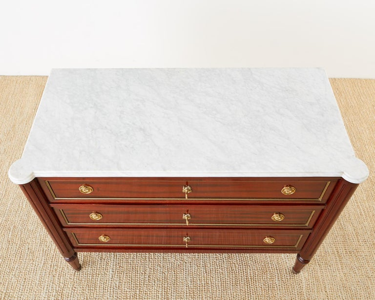 French Louis XVI Style Mahogany Marble-Top Commode Dresser  For Sale 5