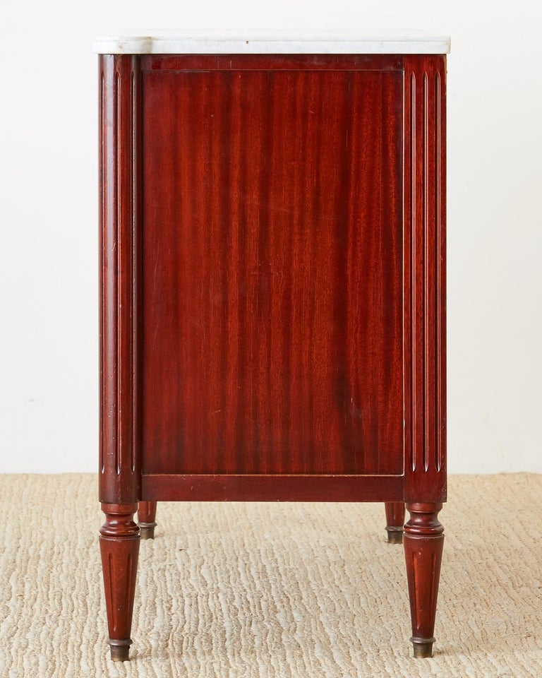 French Louis XVI Style Mahogany Marble-Top Commode Dresser  For Sale 7