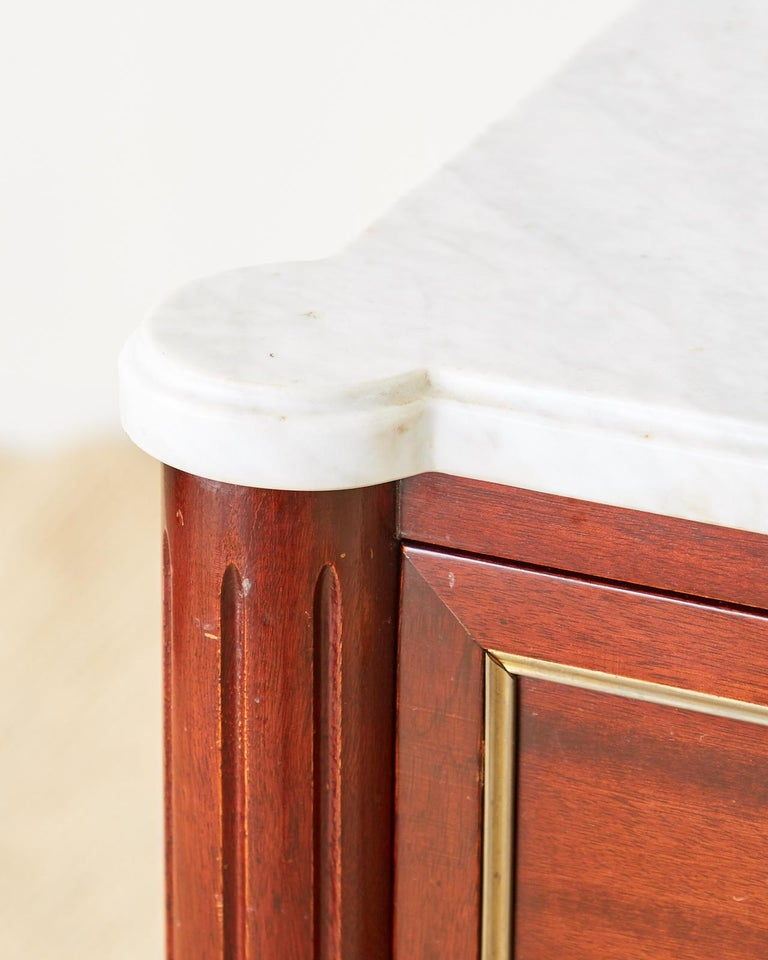 French Louis XVI Style Mahogany Marble-Top Commode Dresser  For Sale 3