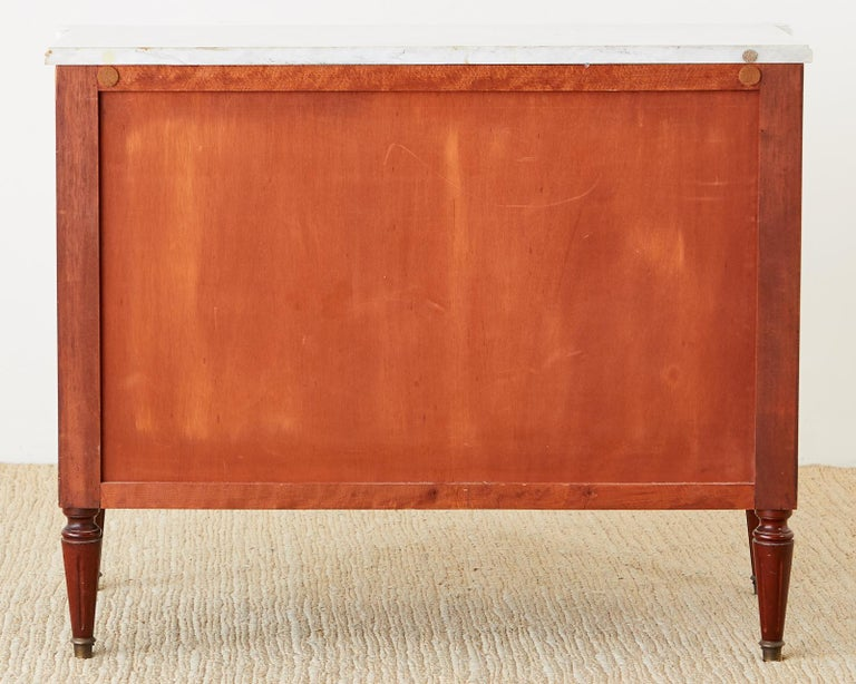 French Louis XVI Style Mahogany Marble-Top Commode Dresser  For Sale 14