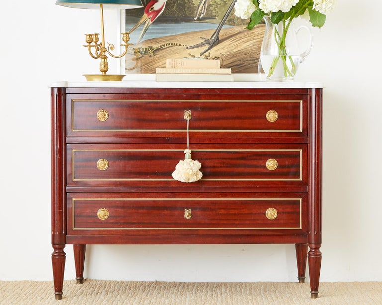 Brass French Louis XVI Style Mahogany Marble-Top Commode Dresser  For Sale