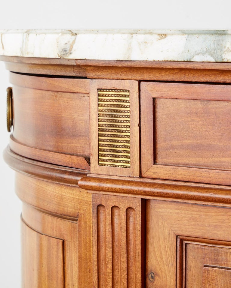 French Louis XVI Style Mahogany Marble-Top Sideboard Server For Sale 7
