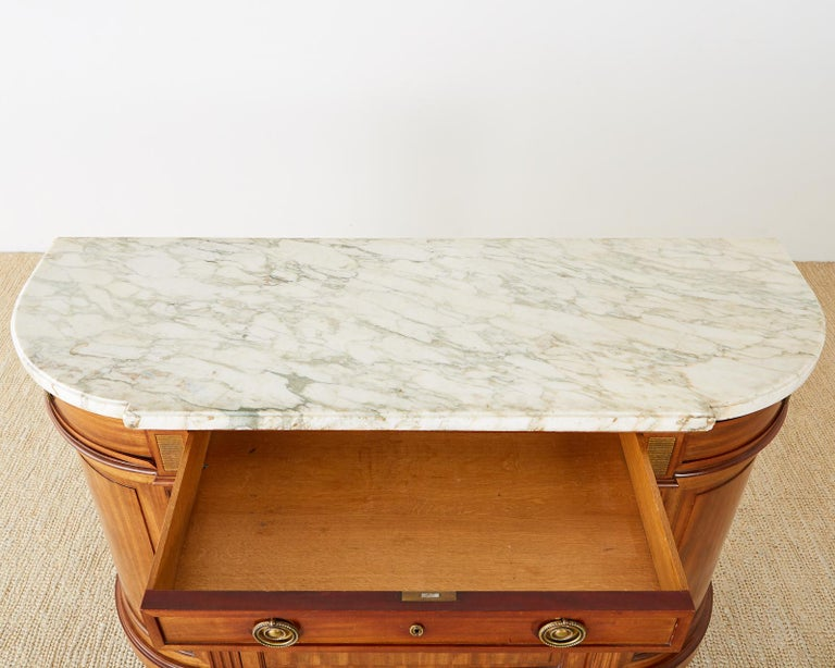 French Louis XVI Style Mahogany Marble-Top Sideboard Server For Sale 12