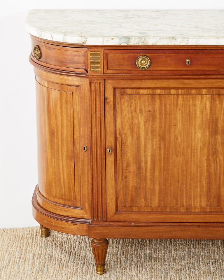 French Louis XVI Style Mahogany Marble-Top Sideboard Server In Good Condition For Sale In Oakland, CA