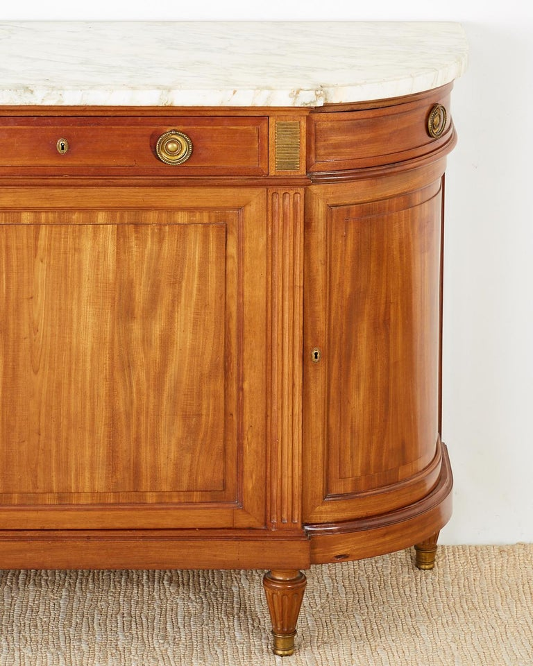 20th Century French Louis XVI Style Mahogany Marble-Top Sideboard Server For Sale