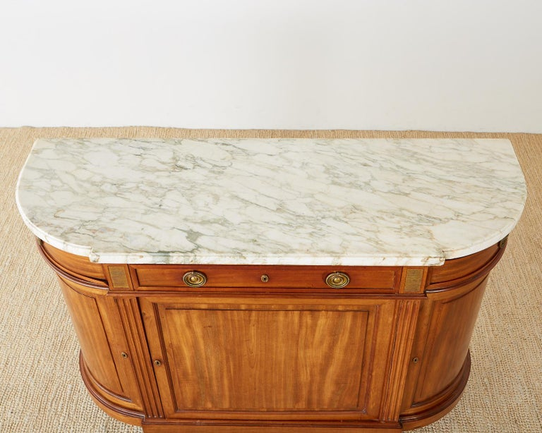 French Louis XVI Style Mahogany Marble-Top Sideboard Server For Sale 2
