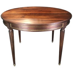 French Louis XVI Style Mahogany Round Expandable Table with Gold Bronze