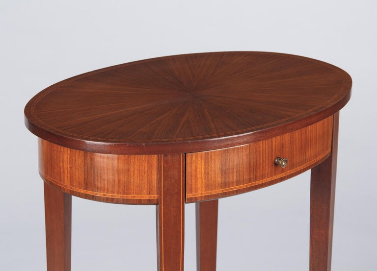Veneer French Louis XVI Style Mahogany Side Table, Early 1900s For Sale