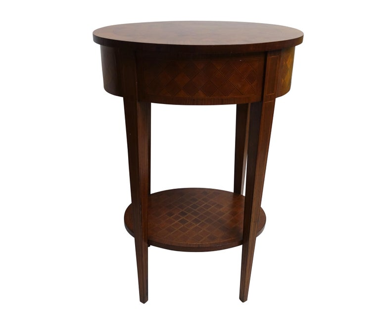 French Louis XVI Style Mahogany with Inlay Side Table For Sale 5