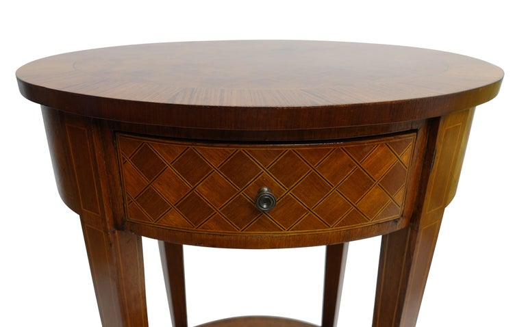 20th Century French Louis XVI Style Mahogany with Inlay Side Table For Sale