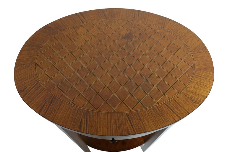 Ebony French Louis XVI Style Mahogany with Inlay Side Table For Sale