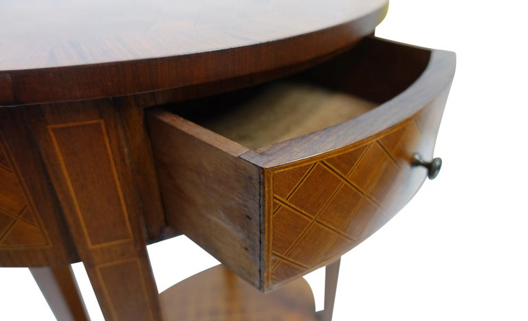 French Louis XVI Style Mahogany with Inlay Side Table For Sale 1