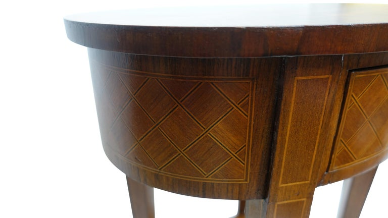 French Louis XVI Style Mahogany with Inlay Side Table For Sale 2