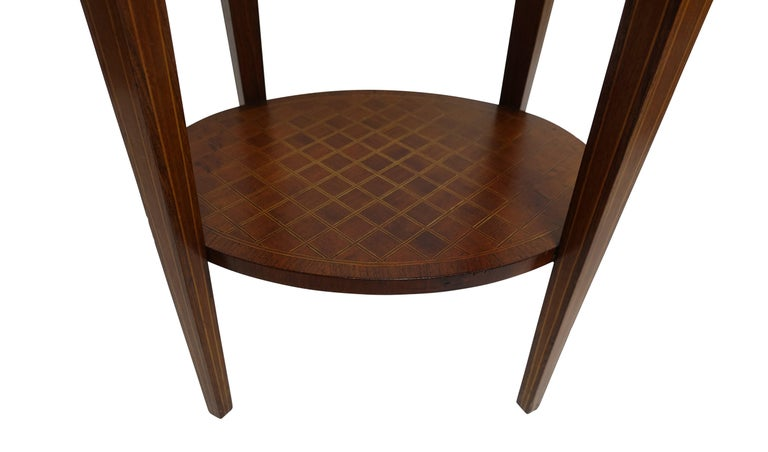 French Louis XVI Style Mahogany with Inlay Side Table For Sale 3