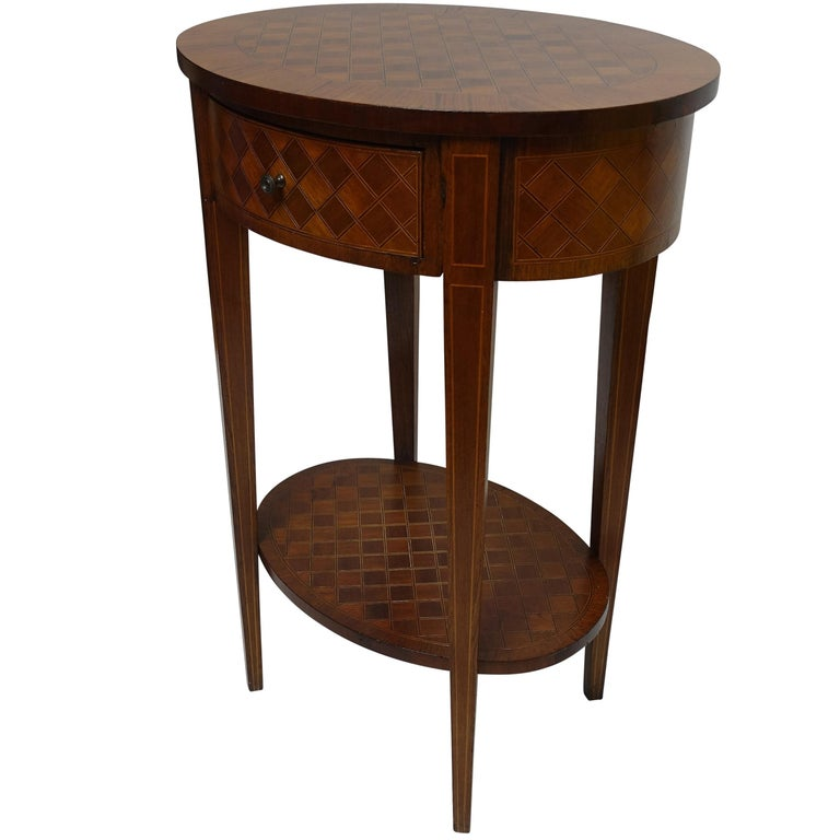French Louis XVI Style Mahogany with Inlay Side Table For Sale