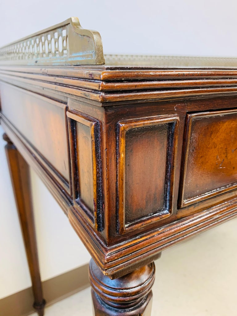French Louis XVI Style Maitland-Smith Mahogany Desk or Writing Table For Sale 8