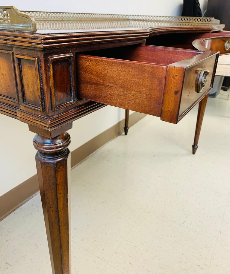 Brass French Louis XVI Style Maitland-Smith Mahogany Desk or Writing Table For Sale