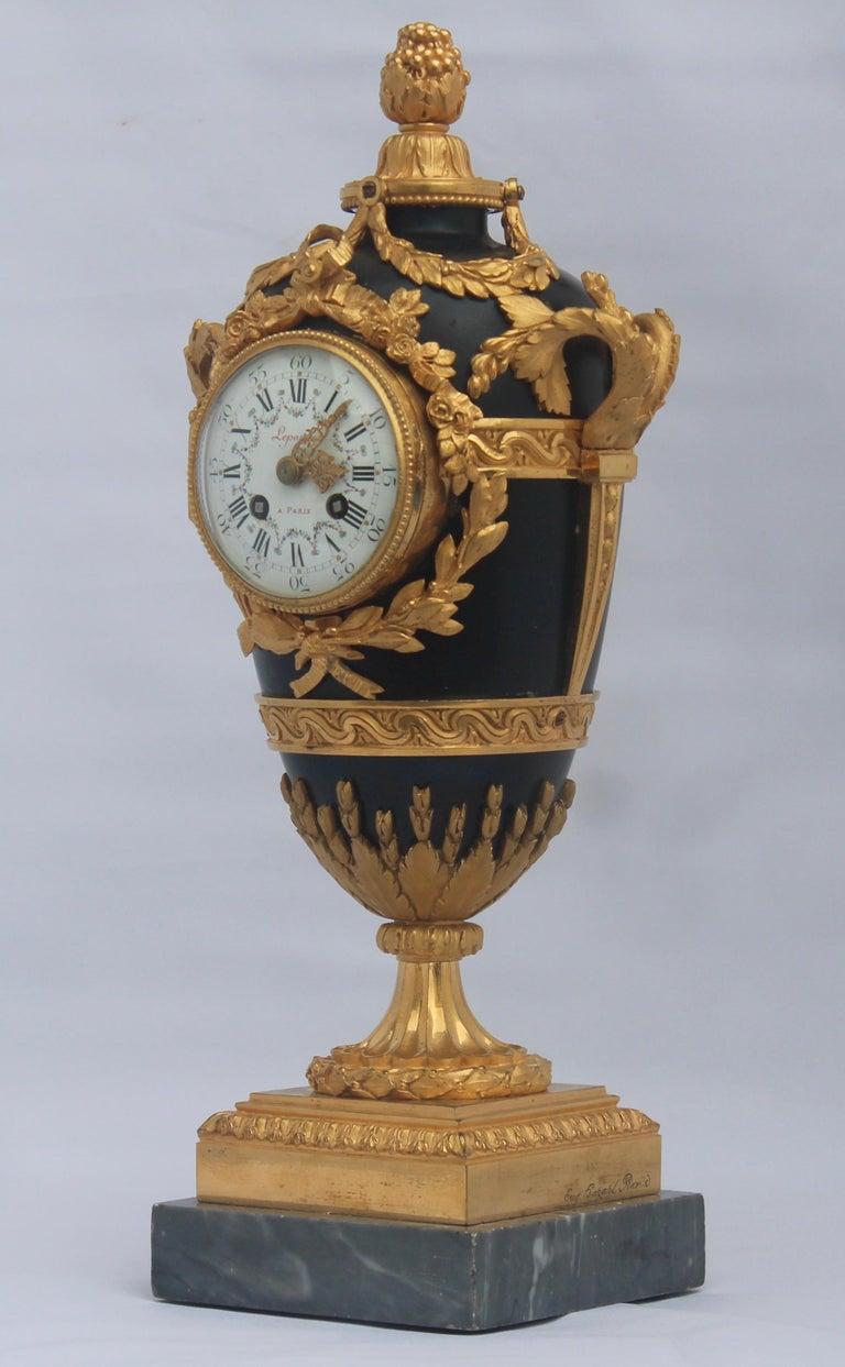 Gilt French Louis XVI Style Mantel Clock by Eugène Hazart, À Paris For Sale