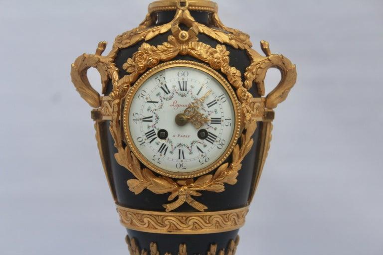 Enamel French Louis XVI Style Mantel Clock by Eugène Hazart, À Paris For Sale