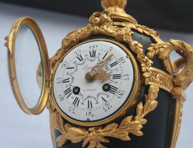 French Louis XVI Style Mantel Clock by Eugène Hazart, À Paris For Sale 1