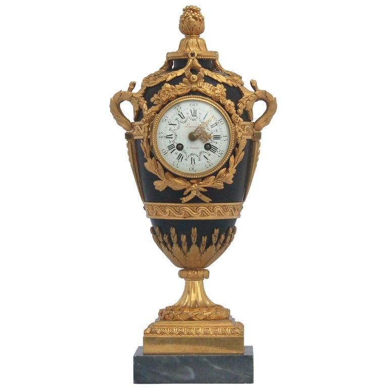 French Louis XVI Style Mantel Clock by Eugène Hazart, À Paris For Sale